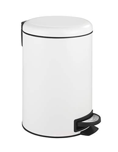 WENKO Treteimer Leman Easy Close Weiß 12 L - Kosmetikeimer, Mülleimer mit Absenkautomatik Fassungsvermögen: 12 l, Stahl, 25 x 38 x 32 cm, Weiß