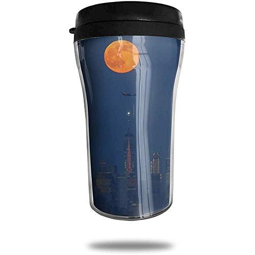 Vollmond steigt über Weltreise Kaffeetasse 3D gedruckt tragbare Vakuum-Tasse, isolierte Teetasse Wasserflasche Becher zum Trinken mit Deckel 8,54 oz (250 ml)
