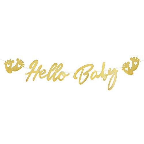 VINFUTUR Hello Baby Girlande Gold, Baby Shower Banner zum Aufhängen, Hängende Fahne für Babydusche Babyparty Dekoration