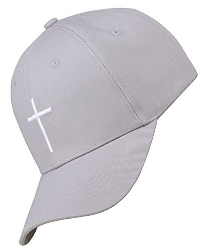 Bexxwell Baseball Cap grau mit Kreuz-Stickerei (optimale Passform, Kappe, Grey, Gray, Baseballcap, Cross, Basecap,Unisex)
