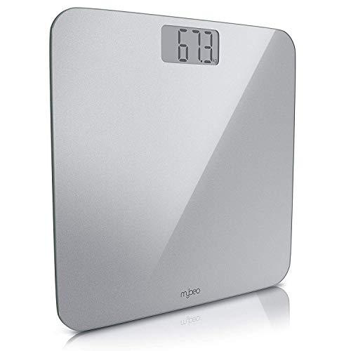 MyBeo balanza - Balanza báscula Digital, Slim Design - Cristal de Seguridad 6mm, Pantalla LCD Grande, máx. 180 kg, Encendido y Apagado automático - Medidas en kg y LB