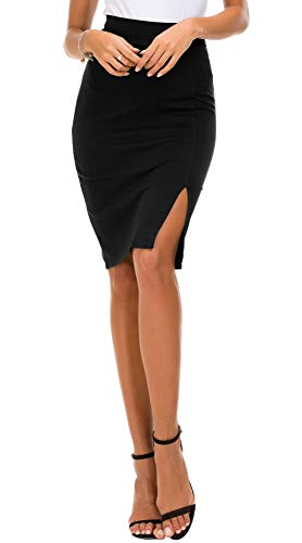 EXCHIC Donna Vita Alta Gonna Elastico Bodycon Midi Gonna (L, Nero)