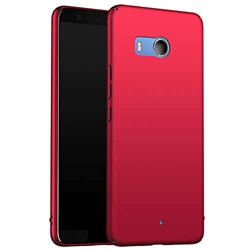for HTC U11 Hülle, ZUERCONG [Matte Serie] Ultra Dünn Slim Cover Case Anti-Fingerabdrücke Anti-Scratch Shockproof Handytasche Hartplastik Schutzhülle für HTC U11, Glattes Rot