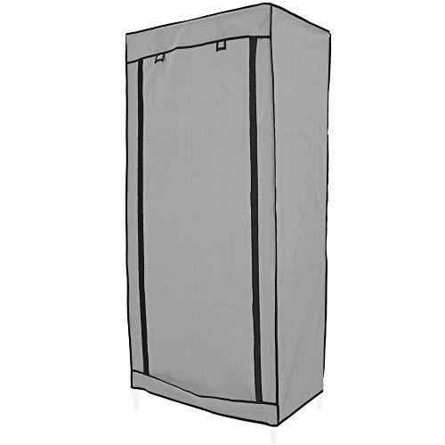 PrimeMatik - Garderobekast kast in afneembare stof 70 x 45 x 155 cm grijs met roldeur