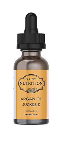 Saint Nutrition® Juckreiz ARGAN ÖL für Haustiere - DIE Hilfe bei Juckreiz durch Hautprobleme - auch bei Föhe & Läuse als Ursache, für Hunde und Katzen bei Grasmilben - Katze, Hund & Pferd | 10ml