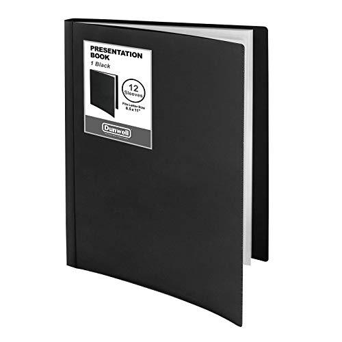 """Dunwell 12-Pocket Bound Presentation Book - (Black, 1 Pack), Presentation Binder with Plastic Sleeves, Displays 24 Pages 8.5x11"""" Sheets, Binder with Pockets, Sheet Protector Binder, Portfolio Folder"""