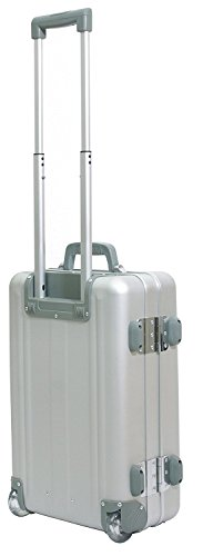 Trolley da viaggio con ruote formato cabina alluminio argento bagaglio a mano