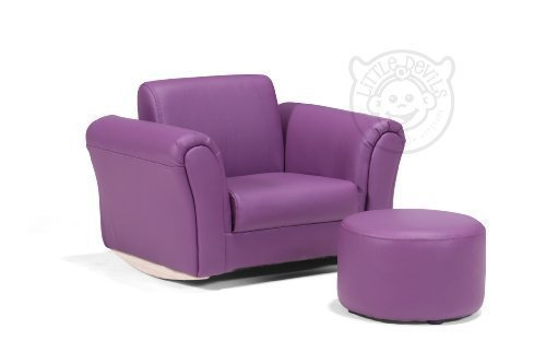 Purple lazybones leather rocking chair armchair kids for Childrens rocking chair with footstool