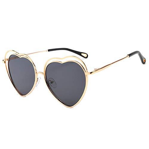 OGOBVCK Amor corazon gafas de sol de color caramelo una pieza de gafas con marco de metal (Black)