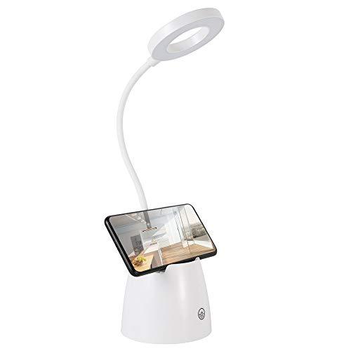 Lámpara Escritorio LED Flexo LED Escritorio Control Táctil de 3 Modos de Iluminación para Leer Protección Ocular con Soporte para Teléfono Móvil y Soporte para Bolígrafo