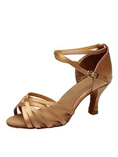 Tookang Mujeres Zapatos Latinos de Baile Zapatillas de Salón Salsa Performance Calzado de Danza (Tacón 7CM)