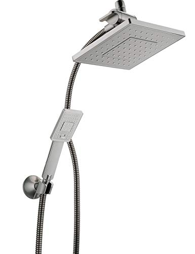 Bright Showers Rain Shower head with Handheld Spray 5 ft. Shower Hose Combo Includes Wall Mount Suction Bracket, 3-Way Water Diverter Mount (8 Inch Square, Brushed Nickel)