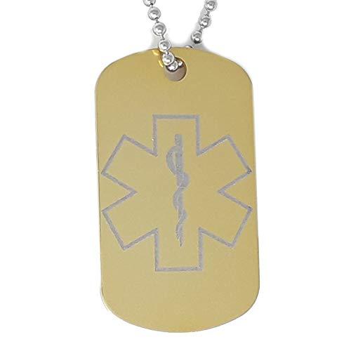 Medische waarschuwing Tag Medische Alert Gegraveerde hond Tag Ketting Goud Aluminium Medische Alert ID Tag Noodsituatie Medische ID Alerts Contacten Telefoon SMS*