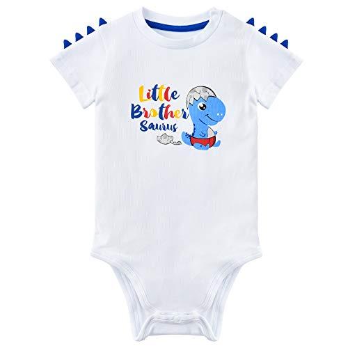WAWSAM Piccolo Fratello Body Neonato Manica Corta Ragazzino Dinosauro Pagliaccetti Regalo 100% Cotone Rex Stampato Baby Bodysuit Bianco Bambino Tutina (bianca, 3-6 mesi)