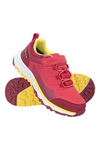 Mountain Warehouse Wilderness Kids Waterproof Walking Shoes EVA Cushioned Sports Shoe Mesh Lining Girls Boys Footwear Best for Sports Hiking Outdoors Trekking Berry Kids Shoe Size 12 UK