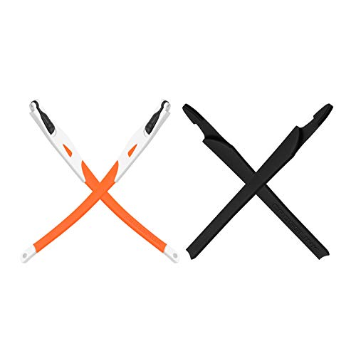 MANIK Replacement Temples Legs/Arms & Black Earsocks for Oakley Crosslink Sweep Pro Switch OX8027 OX8029 OX3128 Glasses - White Temples With Orange Sock