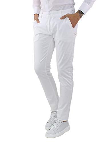 Pantaloni Uomo Elegante Primavera Pantalone Cotone Leggero Primaverile Chino Classico Pantalone Tasca America Regular Nero Blu Beige Bianco Verde Senape Grigio (Bianco, 44)
