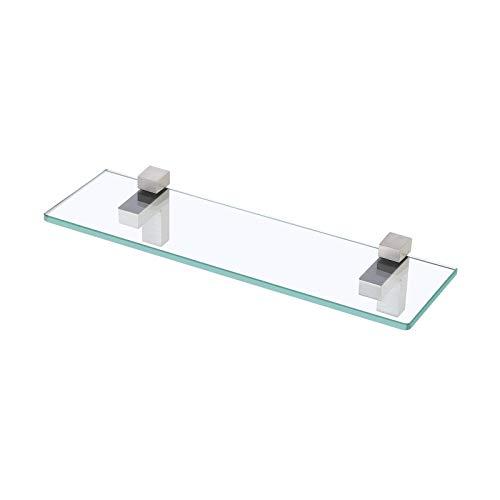 Amazon Brand - Umi Estantes de Baño de Vidrio Templado Accesorios Baño Soporte de Pared de Vidrio Rectangular de 50 CM 8 MM de Espesor, Níquel Cepillado, BGS3201-2