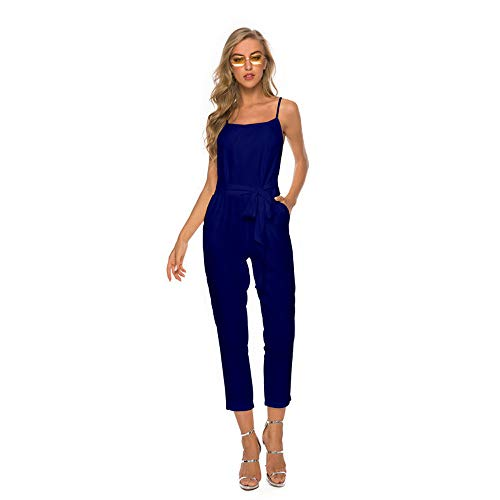 PIKAqiu33 Women Sexy Plus Size Solid Sashes Camis Long Loose Jumpsuit Bodysuit, for Christmas New Year (Blue-3XL)