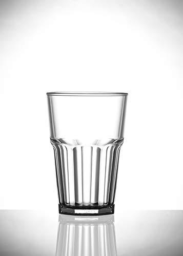 Roltex Kunststoff-Trinkbecher, achteckig, unzerbrechlich, wiederverwendbar, 12 cm hoch, Durchmesser 8,5 cm, 428 ml, 6 Stück