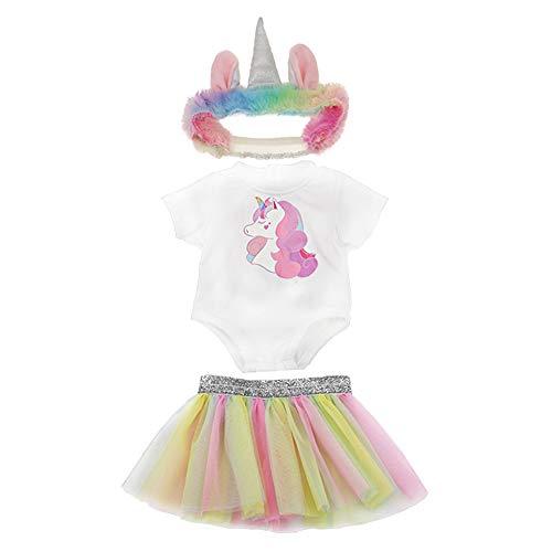 WENTS Ropa para Muñeca Vestido 3PCS Ropa de Muñecas para New Born Baby Doll Unicornio Vestidos para Muñeca Hechos para Muñecas de 18 Pulgadas