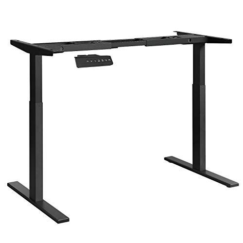 SONGMICS Tischgestell, Schreibtischgestell, elektrischer Schreibtisch, Tischständer mit Doppelmotor, stufenlose Höhenverstellung, mit Speicherfunktion, Stahl, schwarz, LSD14BK