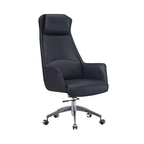Sillas La elevacion y Oficina en casa reclinables giratoria Jefe Presidente Ejecutivo disenador Oficina Sencilla (Color : Black, Size : 66 * 66 * 130cm)
