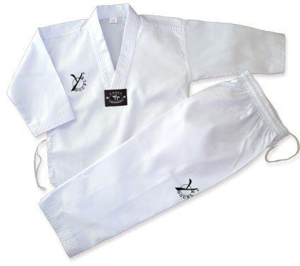DOUBLE Y - Kimono de taekwondo Dobok neutro blanco blanco Talla:120
