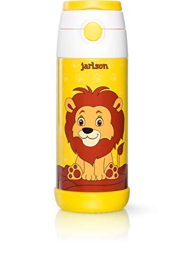 JARLSON® Trinkflasche Kinder - Thermo Edelstahl Wasserflasche 350ml - BPA frei - auslaufsicher - Kinderflasche mit Strohhalm - Flasche für Schule, Kindergarten, Fahrrad (Löwe, 350 ml)