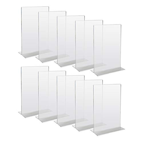 HMF 46920 Acryl Tischaufsteller gerade | 10 Stück | DIN A6 Hochformat | Glasklar