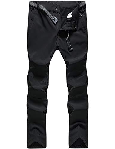 BenBoy Women's Outdoor Waterproof Windproof Fleece Slim Cargo Snow Ski Hiking Pants,AN-US3369W-Black-XS