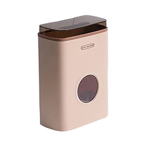 B Blesiya Dispensador de vasos de papel con forma de pull para pared, dispensador de vasos desechables, no perfora, color rosa