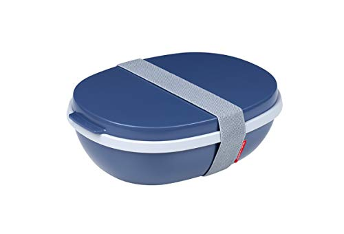Mepal Nordic Denim Lunchbox Ellipse Duo, Plastik, 22.5 x 17.5 x 7.5 cm
