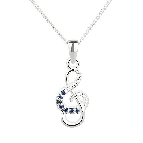 FIVE-D - Collana con Ciondolo a Forma di Note Musicali con Cristalli in Argento Sterling 925, in Confezione Regalo, Lunghezza della Catena: 38/40 cm