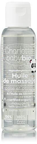 CHARLOTTE BABY BIO - Les Soins BIO pour Bébé - Huile de massage - à l'Huile de Sésame - Apaise et Protège - 100 ml - Lot de 2
