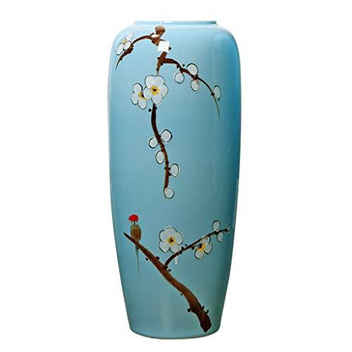 Vasen Mode Bodenvase chinesische Keramikvase Wohnzimmer Home Art Flower Arrangement Couchtisch Beistelltisch Flower Arrangement (Color : Blue, Size : 26x26x80cm)