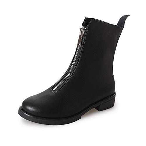 Shukun enkellaarsjes Women'S Single Boots herfst en winter laarzen voor rits laarzen Women'S dik met lage hak Martin laarzen Women'S Singles