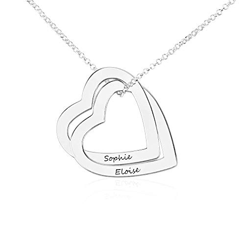 Personalised Name Necklace Interlocking Hearts Necklace Couple Love Necklace