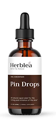 HERBLEA Pin Drops – Digestive System & Intestinal Support for Human* - Extracted from Wormwood and Organic Walnuts – Gluten-Free, Certified Vegan and Kosher – 2 Oz Recipient
