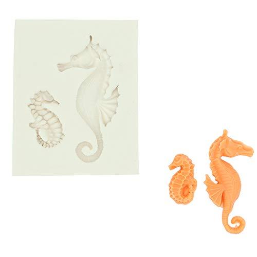 Bakvorm voor chocolade, snoepjes, decoratie van taart, van schuimstof, in hartvorm, schelp, zeepaardje, drie modellen, siliconen, geschikt voor levensmiddelen.