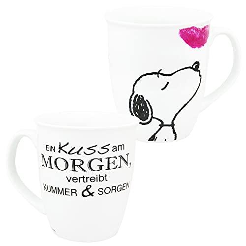 Peanuts Snoopy - Ein Kuss am Morgen, vertreibt Kummer & Sorgen Tasse Kaffeetasse Weiß aus Steingut 280 ml