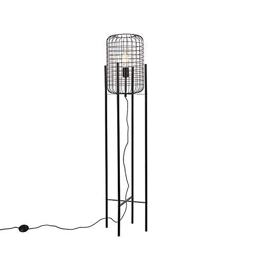 QAZQA Industrie/Industrial Industrielle Stehlampe schwarz - Bliss Vefa/Innenbeleuchtung/Wohnzimmerlampe/Schlafzimmer Stahl Länglich LED geeignet E27 Max. 1 x 40 Watt