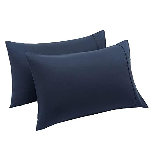 Amazon Basics Lightweight Super Soft Easy Care Microfiber Pillowcases - 2-Pack, Standard, Navy Blue