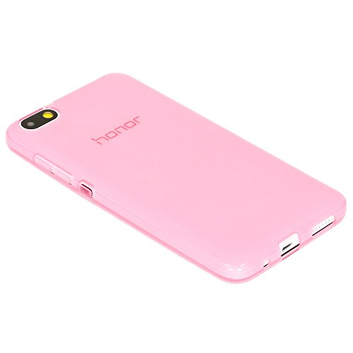NALIA Handyhülle kompatibel mit Huawei Honor 4X, Soft Slim TPU Silikon Case Cover Hülle Crystal Schutzhülle Dünn Durchsichtig, Etui Handy-Tasche Back-Cover Phone Schutz Bumper - Transparent/Pink - 3