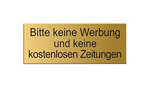 Briefkastenschild Bitte-Keine-Werbung-und-Keine-kostenlosen-Zeitungen   66x25 mm vollflächig selbstklebend Material Aluminium mattgold eloxiert Messingschild-Optik Nr.28994-M