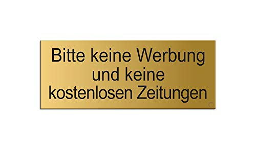 Briefkastenschild Bitte-Keine-Werbung-und-Keine-kostenlosen-Zeitungen | Messingschild-Optik 66 x 25 mm | vollflächige Selbstklebend Nr.28994-M