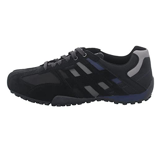 Geox Uomo Snake K, Sneakers Base, Black/Blue, 48 EU