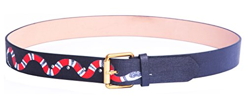 Yuangu Men's Coral Snake Print 38-mm Italian Leather Belt (110cm/43.3inch (37-39), Black)