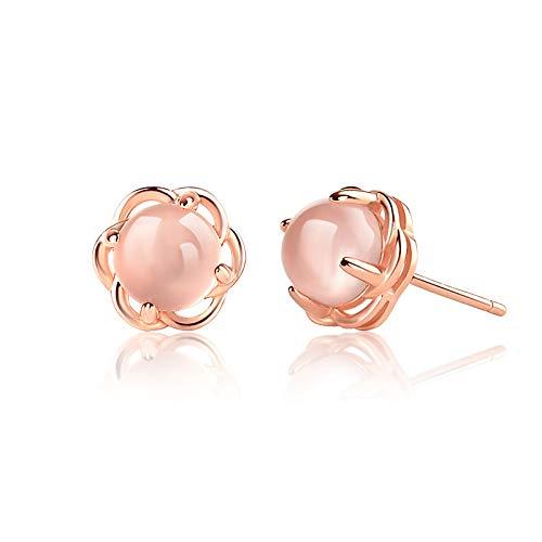 Vergoldet 925 Silber Natürliche Pulver Kristall Ohrringe Weibliche Hibiskus Rose Gold Ohrring Temperament Kreative Ohrringe