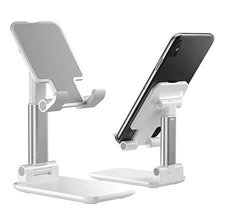 Foldable Cell Phone Stand, 2020 Updated Angle & Height Adjustable Desk Phone Holder with Stable Anti-Slip Design Cradle Stands Compatible with Smartphones/iPad Mini/Nintendo Switch/Kindle